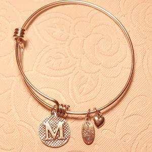 Letter M bangle bracelet